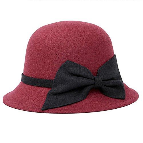 Butterme Vintage Cloche Kappen Eimer Hüte Runde Bowler Hat Fedora Derby Hüte mit großen Bogen für Frauen Damen (Weinrot) (Fedora-hüte Für Frauen Groß)