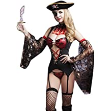 Lukis Strapsset Damen Dessous Set Reizwäsche Erotik Piratin Kostüm Cosplay