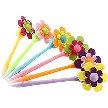 Bolígrafos de colores con punta de 0,7 mm y adorno en forma de flor (6 unidades), de NUOLUX 6