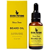 Seven Potions Premium Beard Oil for Men - Jojoba Oil Beard Softener to Nourish Skin, Hair, and Stop Beard Itch - All-Natural, Organic, Vegan, Cruelty Free - Citrus Tonic Scent (30ml)