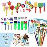 WoYu 27 Pezzi Pennelli Spugna per Pittura Set per Bambini, Disegno per Bambini Prima Educazione Pennelli, Kit di Pittura per