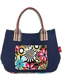 Wewod Handtaschen Damen Canvas Shopper Tasche Klein Henkeltasche Ethno Tote Tasche Blumen Umhängetasche Trendy