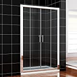1700 x 800 mm Double Sliding Shower Enclosure 6mm Glass Modern Bathroom Shower Cubicle Door with Tray   Waste
