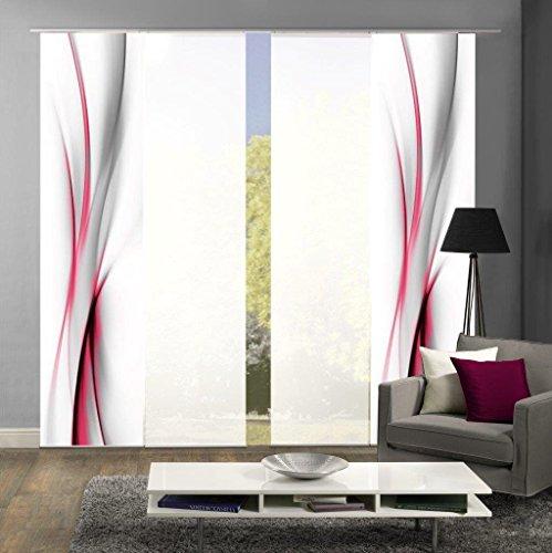 abitiamo< 94095 Flächenvorhänge 4er-Set UFA, in grau oder rot, Flächenvorhang Rochelle + Uni-Flächenvorhang ROM   Farbe des Sets: ROT (Flächenvorhänge Rot)