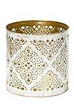 Tara Windlicht Jali Metall weiß-gold 10x10cm Fair Trade