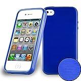 Cadorabo DE-104818 Apple iPhone 4 / iPhone 4S Handyhülle aus TPU Silikon in gebürsteter Edelstahloptik (Brushed) Blau