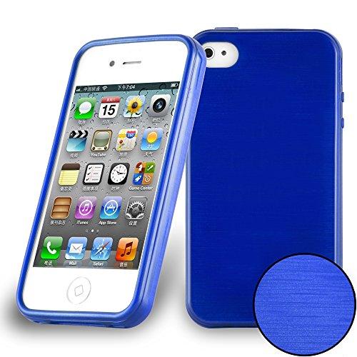 Preisvergleich Produktbild Cadorabo DE-104818 Apple iPhone 4 / iPhone 4S Handyhülle aus TPU Silikon in gebürsteter Edelstahloptik (Brushed) Blau