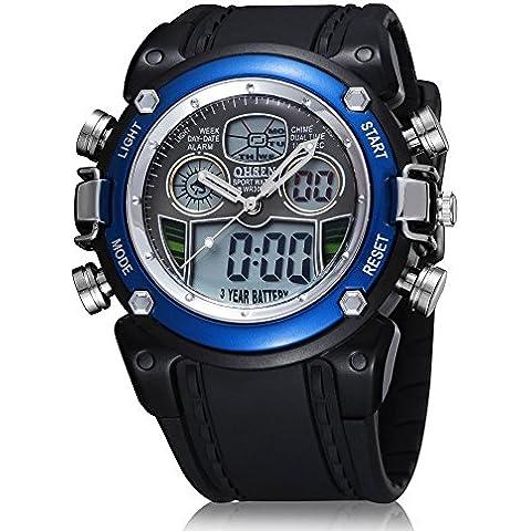 vear da uomo Dual Time digitale auto allarme data orologio impermeabile al quarzo sport cinturino in gomma blu - Omega Cinturino In Gomma Blu