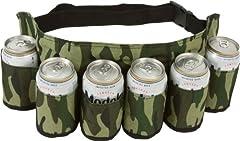 Idea Regalo - SHENNOSI®, cintura portalattine di birra e bibite, può contenere 6 bevande, motivo mimetico