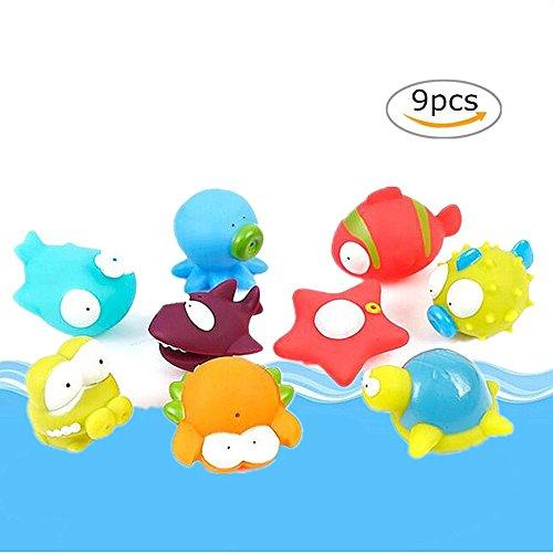 Interesante Juguetes de baño , Chickwin Bebé de los animales 5pcs que baña los juguetes de goma suaves Juegue el juguete del sonido de la piscina de agua del juego del baño