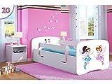 Kocot Kids Kinderbett Jugendbett 70x140 80x160 80x180 Weiß mit Rausfallschutz Matratze Schublade und Lattenrost Kinderbetten für Mädchen und Junge - Tanzende Feen 180 cm