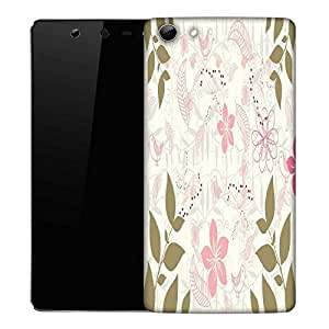 Snoogg Green Leaf White Pattern Designer Protective Phone Back Case Cover For Micromax Canvas Selfie Q348