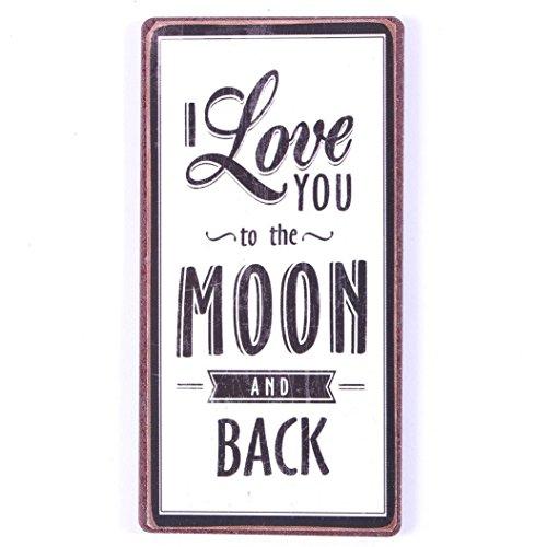 AS4HOME Kühlschrankmagnet – I Love You to The Moon and Back – Magnet im Antik Look