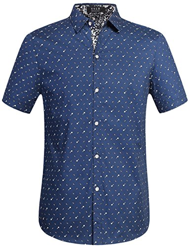 SSLR Herren Druck Regular Fit Kurzarm Button Down Hemd Indigo