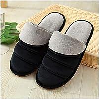 OMFGOD Los Hombres Invierno Home Zapatillas De Algodón Térmicos Skid Transpirable Resistente Al Desgaste Interiores Padre-Hijo Piso Zapatos,Negro,34-35