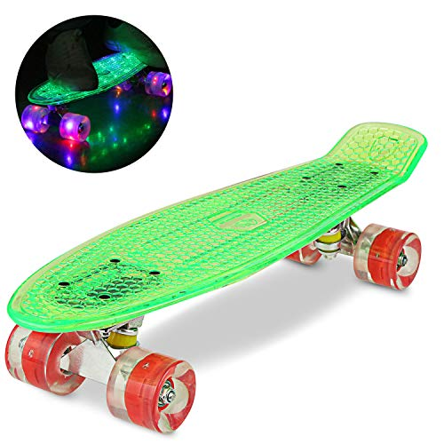 WeSkate 55CM Mini Cruiser Skateboard Kunstsoff Flashing mit LED Leuchten/Deck Komplett Retro Skate Board für Jungen Mädchen Kinder Jugendliche Erwachsene (Machen Mini Top Hat)