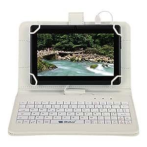 """iRULU Custodia di PU con tastiera micro-USB per i tablet di 7-8 """"compatibile con iRULU tablet-Bianco"""
