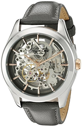 Kenneth Cole Women's 40mm Silver-Tone Leather Band Steel Case Automatic Analog Watch 10025926