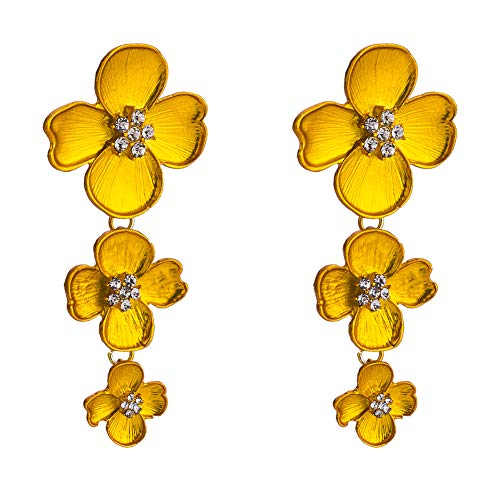 Monbedos - Pendientes colgantes de tres flores con diamantes para mujeres y niñas amarillo
