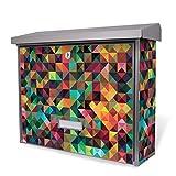 BURG-WÄCHTER Edelstahl Briefkasten, Motivbriefkasten Modell Secu Line 31,5 x 38,5 x 11,5cm, Design Briefkasten mit Motiv Dunkles Kaleidoskop