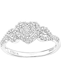 Naava 9ct White Gold Heart 0.25ct Halo Diamond Engagement Ring