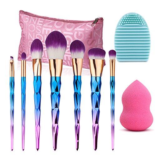 Lot de pinceaux de maquillage, Vonisa Lot de 7 Coloré Fusion de Kits de brosse de maquillage Outil Poudre Fond de Teint Contour Yeux sourcils lèvres Concealer Brosse pour le visage + Beauté éponge de maquillage + Brosse Aspirateur + Sac de Rangement