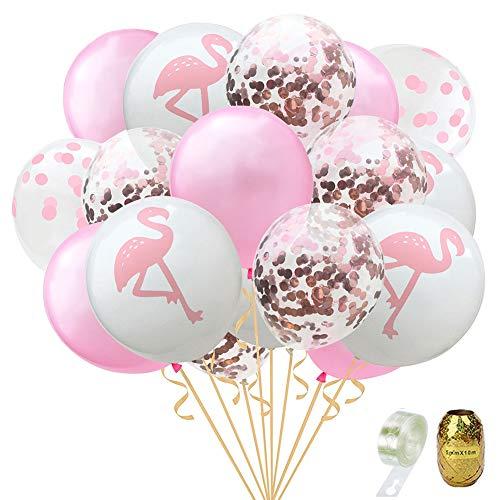 ons, Konfetti Luftballons Helium Palme Blätter Ballons Ballonstreifen für Hochzeit und Geburtstag Hawaii Party Dekorationen Luftballons 22 Pcs (A Pink) ()