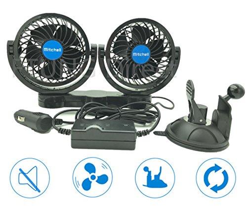 Preisvergleich Produktbild FTUNG 12V Auto Ventilator mit Saugfuss,  360 Grad Drehung - 9 Ft Kabel & 3M 7W