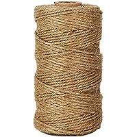 Lumanuby 1 rollo de cordel de yute natural vintage de Cuerda de cáñamo para bricolaje, artes, manualidades y decoración. Materiales para jardinería (100 metros, marrón)