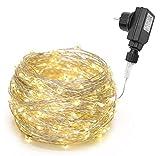 200/300er LED Mikro Silberdraht Lichterkette Strombetrieb Deko für Innen Außen Warmweiß gresonic (Dauerlicht, 300LED)