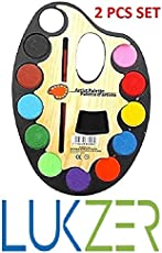 LUKZER Large Artistic Palettes With 12 Water Color & Artist Paint Brush In Each Of The Palette For Kids (2 Pcs Set)