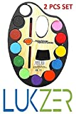 #9: LUKZER Large Artistic Palettes with 12 Water Color & Artist Paint Brush in each of the palette for Kids (2 Pcs Set)