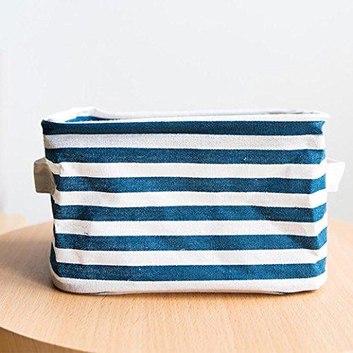 Masrin – Faltbarer Stoff-Korb für den Schreibtisch oder zum Aufbewahren von Schmuck oder Spielzeug Lake Blue Stripe