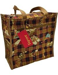 Einkaufstasche, Stofftasche Leinen 30 x 30cm, mit Reissverschluss, Motiv Golf, Einkaufsbeutel Gobelin-Stil