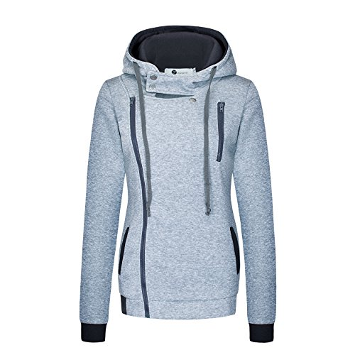 ... Zarlena Damen Kapuzenpullover Hoodie Frauen Sweater Zipper Sweatshirt  Pullover Hellgrau 7c7a79441f