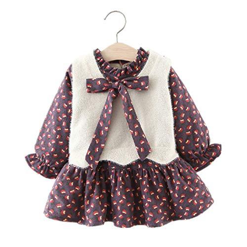 (Baby Mädchen Kleider, Allskid Winter Langarm Bowknot Warm SAMT Kleid Pullover Weste Zweiteilige Prinzessin Girls Dress)