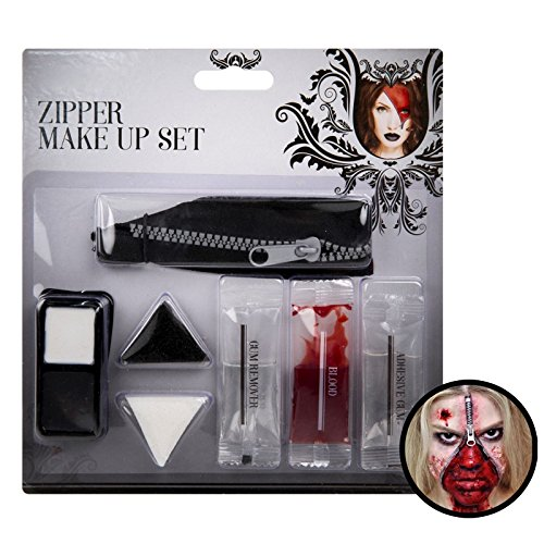 Zombie Zip Reißverschluss Schauriger Horror Make Up Art Kit Fake Blood Face Paint Fancy Dress Party Kostüm (Zip-gesicht Halloween-maske)