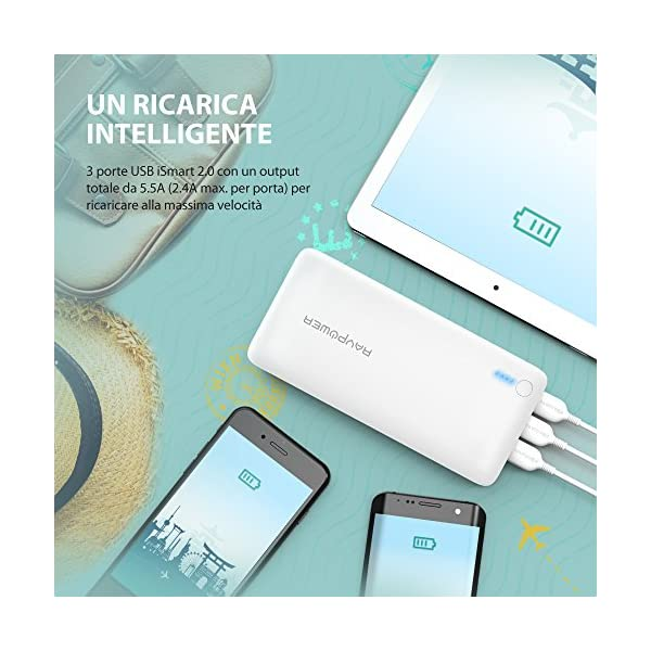 RAVPower Caricatore Portatile da 26800mAh con 3 Porte USB e Un Output Totale da 5.5A (Input da 2A, Tecnologia iSmart 2.0… 3 spesavip