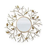 QARYYQ Hanging Mirror American Wrought Iron Round Mirror European Metal Corridor Foyer Fireplace Decorative Wall Wall mirror (Color : Gold, Size : 50cm)