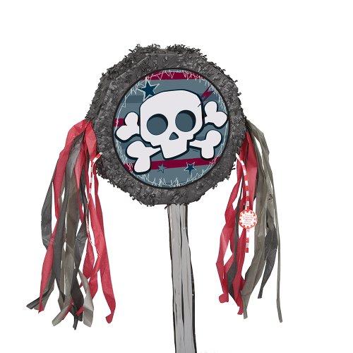 otenkopf für Piraten-Kindergeburtstag, d=28,6cm, 8 Bändel (Totenkopf Pinata)