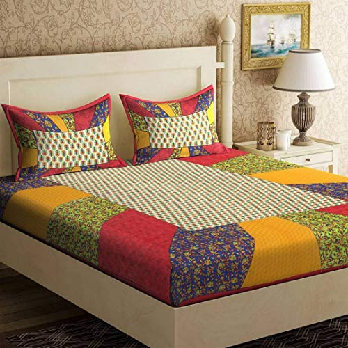 Monik Handicrafts 100% Cotton Rajasthani Jaipuri sanganeri Traditional King Size Double Bed Sheet with 2 Pillow Covers (Red)