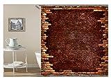Epinki Polyester Badewanne Vorhang Ziegelwand Muster Duschvorhang Rot für Badezimmer 165x200CM