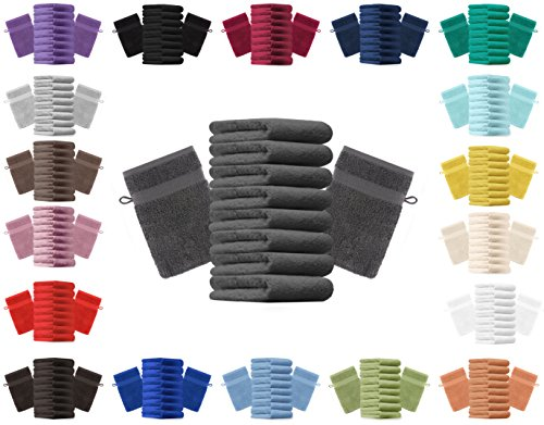 Betz lot de 10 gants de toilette taille 16x21 cm 100% coton Premium color anthracite