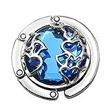 Gazechimp Kristallglas Herz Design , Damen Taschenhalter Tisch Haken Handtaschenhalter Halter Schlüsselanhänger - Blau