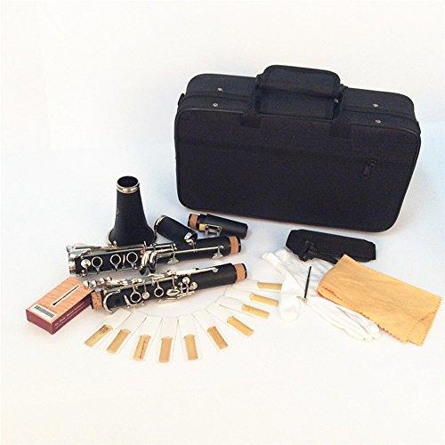 Andoer® Clarinete Baquelita 17 B ♭ Key Flat Soprano Niquelado Exquisito con Cork Grease Trapo de Limpieza Guantes 10 Cañas Destornillador Instrumentos de Viento de Madera