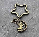 Engel Stern Herz Schlüsselanhänger Mitgebsel Geschenk Mitbringsel Schlüssel Anhänger Herzen Schutzengel Bronze Farbe Fee