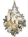 Fensterbild PLAUENER SPITZE® Weihnachten 20x35 cm + Saugnapf TANNENBAUM 3 KERZEN Weiß Creme Braun Gold Spitzenbild Advent (Creme Braun)