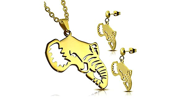 Parure Pendentif et Boucles dOreilles en Acier Chirurgical 316L Dor/é Filigrane Graphique Stylis/é Elephant