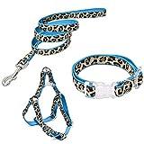 PAWZ Road Hundegeschirr Hundeleine Welpenkragen 3er Brustgurt Set Anpassungsfähig Leopardmuster für kleine und mittelgroße Blau/XS