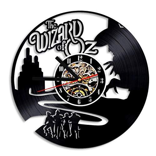 Yvonnezhang Der Zauberer von Oz Vinyl Rekord kreative Wanduhr Künstler Residenz Dekoration Innenarchitektur Kinder Schlafzimmer (Der Zauberer Von Oz Hat)